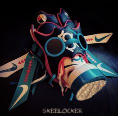 """#SkeeLocker 035/365: had to feature a @sniperjones35 for day 35, heres the Nike Zoom KD IV N7 x Freehand Profit gas mask (made entirely from both the white & black editions$. 1 of 1 made, goes well w/the N7 concept. Check these in @freehandprofit's """"Army Of The Undeadstock"""" book out now too..."""