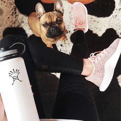 Athleisure style flat lay.  Alo yoga moto leggings, Adidas Tubular Shadow, cowhide rug, and French bulldog puppy.