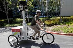 Mechanical Engineer Daniel Ratner demonstrates the StreetView Trike used as a mapping resource by the StreetView team at Google in Mountain View, Calif. on April 12, 2011. Ratner created the prototype for the bicycle.