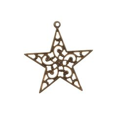This nickel and lead-free item is made of a lovely antique style brass. This gorgeous Filigree Star is great for layering with other pieces. Can even be used as a connector link as the filigree is open!Quantity: 1 Pendant. Measurements: 25mm Wide (About 1 inch), 26mm Long Incl. Loop, 1mm Hole.Check out the rest of our Vintaj® brass beads, findings, and chains!About Vintaj® 100% Natural BrassVintaj® natural brass pieces feature a rich, distinctive caramel brown color si...