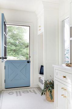 """I love this beautiful entryway with a tile floor spelling out """"hello"""" and a blue Dutch door! entryway ideas - front door ideas - entryway flooring - entryway decor Style Me Pretty Living, Grey Paint Colors, Color Blue, Amazing Spaces, White Space, Mudroom, Interior Design, Interior Ideas, Interior Doors"""