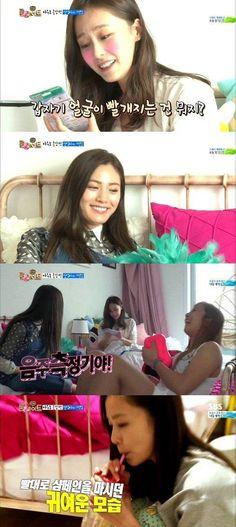Nana gifts a Breathalyzer to Hong Soo Hyun on 'Roommate' | allkpop.com