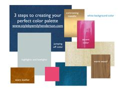How to Choose Your Perfect Color Palette by Emily Henderson. 3 simple steps to creating your perfect color palette. Love her choices on this mood board of pairing rich indigo blue with warm wood, gold / brass, and a pop of hot pink. Best Decor, Web Design, Design Basics, Colored Highlights, Color Pallets, House Painting, Accent Colors, One Color, Decorating Tips
