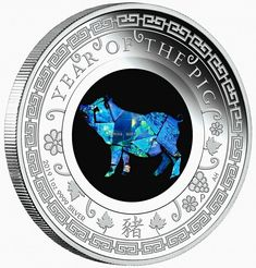 Opal Year of The Pig 1oz Proof Silver Coin Australia 2019