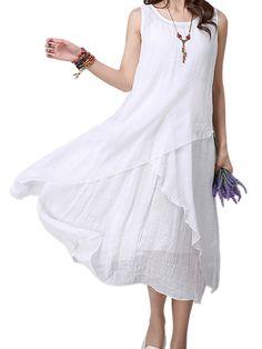 Casual Women Sleeveless Pure Color O-Neck Irregular Dress