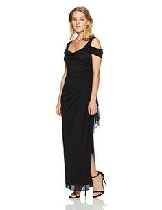 Alex Evenings Women's Long Cold Shoulder Dress with Side Ruched Skirt (Petite and Regular Sizes), Black, Fashion For Petite Women, Womens Fashion For Work, Petite Long Dresses, Formal Dresses, Alex Evenings, Womens Cocktail Dresses, Women's Fashion Dresses, Chiffon Dress, Dresses Online