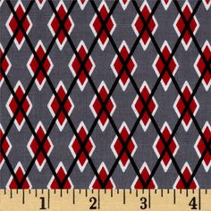 Michael Miller Argyle Me Graphite from @fabricdotcom  Designed for Michael Miller Fabrics, this fabric is perfect for quilting, apparel and home décor accents. Colors include black, white, red and grey.