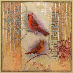 Art, cardinals, pattern, mystical, works on paper. www.rachelpaxton.com