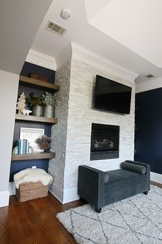 Stacked Stone Fireplace Surround white quartzite ledger stone put in great room possible make this