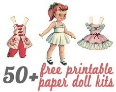 more than 50 free printable paper doll kits