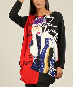 Take a look at this Red & Black Girl Graphic Top by Kushi by Jasko on #zulily today!