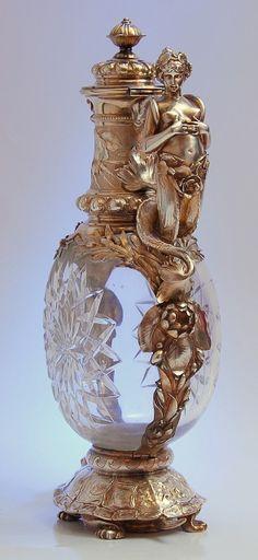Sliver and crystal mermaid claret jug