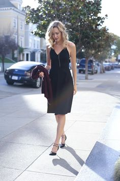 6 black cross back slip dress burgundy oversized chunky long cardigan lace up heels day to night work office style fashion blog san francisco memorandum