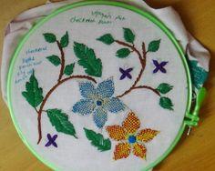 Hand Embroidery Designs # 117 - Checkered flower stitch Design