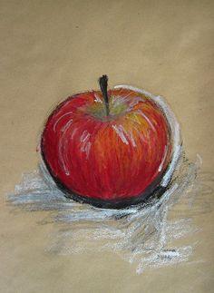 Apfel, Zeichnung, Ölpastell, Graphit, Ioana Luca