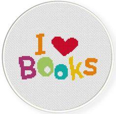 I love Books PDF Cross Stitch Pattern Needlecraft - Instant Download - Modern Chart
