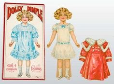 dolls, , Lot of Dolly Dimple boxed paper doll. No date. An easel-back doll with five outfits, five hats and accessory pieces. Dolly is in excellent condition.