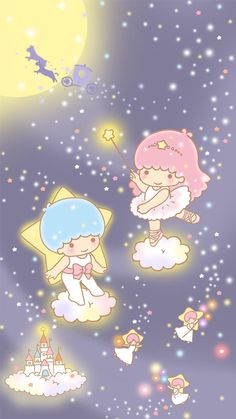 Sanrio Little Twin Stars ❤ Little Twin Stars My Melody Wallpaper, Sanrio Wallpaper, Star Wallpaper, Hello Kitty Wallpaper, Kawaii Wallpaper, Cartoon Wallpaper, Iphone Wallpaper, Little Twin Stars, Little Star