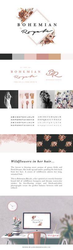 BRAND FOR SALE :: Boho Logo :: Bohemian Royale by Wild Side Design Brand Bazaar :: Fashion, Design, Styling, Makeup, Jewelry, Blog Logo.