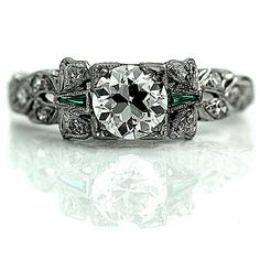 1930s Antique Art Deco Platinum Old European Cut GIA 1.09ctw Filigree Vintage Diamond Emerald Engagement Ring Size 6! by ArtDecoDiamonds on Etsy https://www.etsy.com/ca/listing/250740632/1930s-antique-art-deco-platinum-old