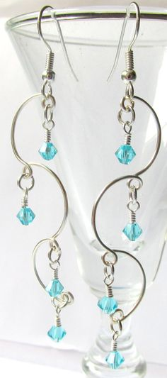 Chandelier Earrings, Beaded Earrings, Turquoise Earrings, Prom 2015, Bridal Jewelry, Bridesmaid Gift, Delicate Earrings, Prom Accessory  $15.50