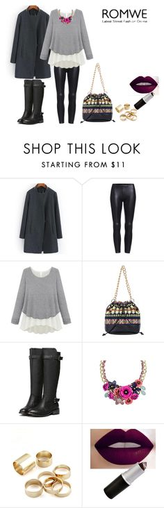 """""""Loose Grey Sweater by ROMWE"""" by sanchaz ❤ liked on Polyvore featuring women's clothing, women, female, woman, misses and juniors"""