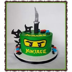 Lego Ninjago Cake, Ninjago Party, Ninja Birthday Parties, Ninja Birthday Cake, Birhday Cake, Ninja Cake, Cakes For Boys, Themed Cakes, Legos
