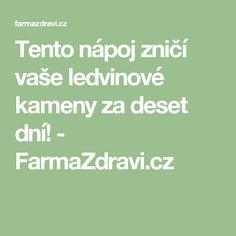 Tento nápoj zničí vaše ledvinové kameny za deset dní! - FarmaZdravi.cz