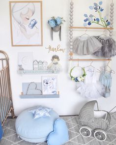 The other half of Harlow's new room 💙 Swipe for more pics! I'm getting heaps of messages about this gorgeous Augusta floor rug from… White Girls Rooms, Pastel Girls Room, Little Girl Rooms, Girls Bedroom, Baby Girl Room Decor, Nursery Decor, Baby Room, New Room, Kids Decor