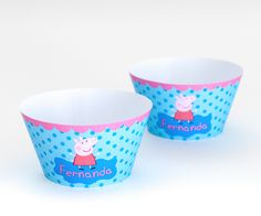 Saia para cupcake Peppa Pig personalizada com o nome da criança.