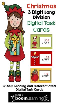 These Christmas BOOM cards feature differentiated digital task cards on 3 Digit Long Division.  BOOM cards are a great way to use technology in the math classroom.  With 36 cards, students will have lots of practice and the cards are self grading too!  Teachers can even track student progress. Easy prep for teachers and super fun for students!