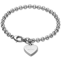 Gucci Women's Sterling Silver Heart Charm Bracelet YBA356210001018 ($295) ❤ liked on Polyvore featuring jewelry, bracelets, silver, heart charm bracelet, sterling silver bangles, heart charms, charm jewelry and heart shaped charms