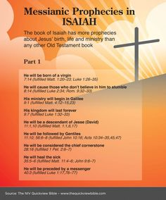 Some Messianic Prophecies in Isaiah chapters 7 - 40. See who the Messiah is here: www.BibleVersesAbout.org/who-jesus-is/