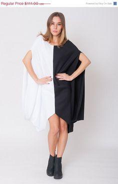 50% OFF SALE New Black White Dress  Chic Draped Tunic by mijumaju