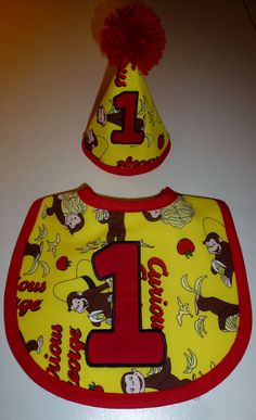 Curious George First Birthday Bib and Hat by HappyLittleSweetPea
