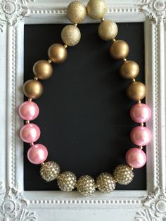 Pink, gold and champagne bubblegum necklace by LilchicboutiqueLIC on Etsy