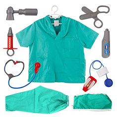 TopTie Doctor Role Play Set / Dress Up Surgeon Costumes Set For Kids SURGEON-S *** You can find more details by visiting the image link. Kids Doctor Kit, Doctor Play Set, Decorating Toddler Girls Room, Bedroom Decor For Teen Girls, Black Ball Dresses, Kids Role Play, Doctor Costume, Dress Up Costumes, Baby Memories