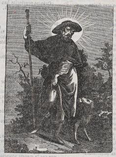 Xilografía alusiva en cabecera de San Roque vestido de peregrino con una llaga en la pierna y un perro a su lado.