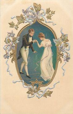 Bompard, S. Vintage Valentine Cards, Vintage Cards, Vintage Postcards, French Greetings, Victorian Paintings, Vintage Dance, Vintage Couples, Vintage Birthday, Vintage Frames