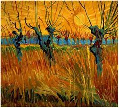 Willows at Sunset by Vincent Van Gogh Painting, Oil on Cardboard Arles: Autumn, 1888