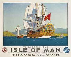 TS60 Vintage Isle Of Man Via Heysham Midland Framed Railway Poster Print A3//A4