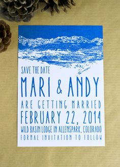 Save the date by Calm Cradle Photo & Design. Blue and white mountain stamp design. #savethedate #mountainwedding #winterwedding #stamp #blue #weddingprogram #coloradowedding