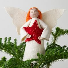 Red Star Angel Tree Topper
