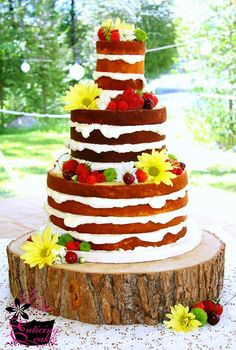 Simple Wedding Cake--No Frosting--Flowers and Fruit Country Wedding Cakes, Wedding Cake Photos, Wedding Cake Rustic, Rustic Cake, Farm Wedding, Dream Wedding, Bolos Naked Cake, Naked Cakes, Fancy Cakes