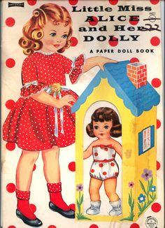 Vintage Little Miss Alice and Her Dolly paper dolls. Paper Dolls Book, Vintage Paper Dolls, Vintage Children's Books, Vintage Cards, Illustrations, Children's Book Illustration, Diy Paper, Paper Crafts, Alice