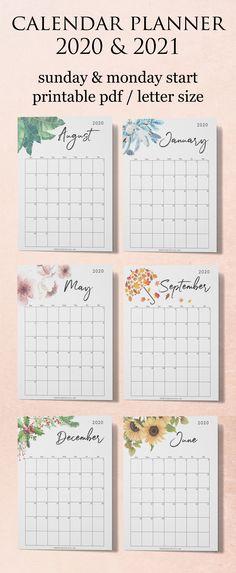 Calendar 2020 Printable, Calendar Planner 2020, Monthly Planner 2020-2021