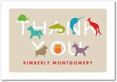 Adorable Animals: Khaki - Folded Thank You Cards at Tiny Prints starts at $0.89 each.