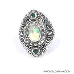 Balinese Silver sterling Tourmaline Ring     size 9  Bali handmade jewelry  silver 925