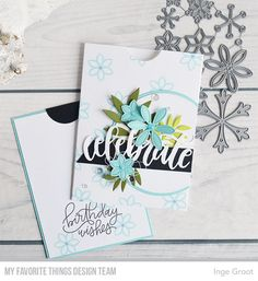 Snowflake Splendor Card Kit MFT Stamps: Handwritten Happiness MFT Die-namics: Celebrate Die-namics, Circle STAX Set 1, Circle STAX Set 2, Leafy Greenery  Inge Groot #mftstamps