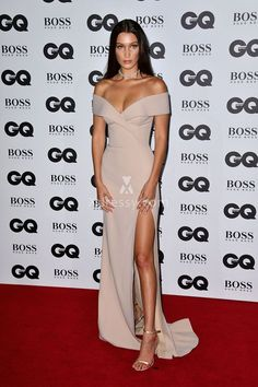 Bella Hadid Elegant Off-the-shoulder Champagne Matte Satin Prom Dress GQ 2016